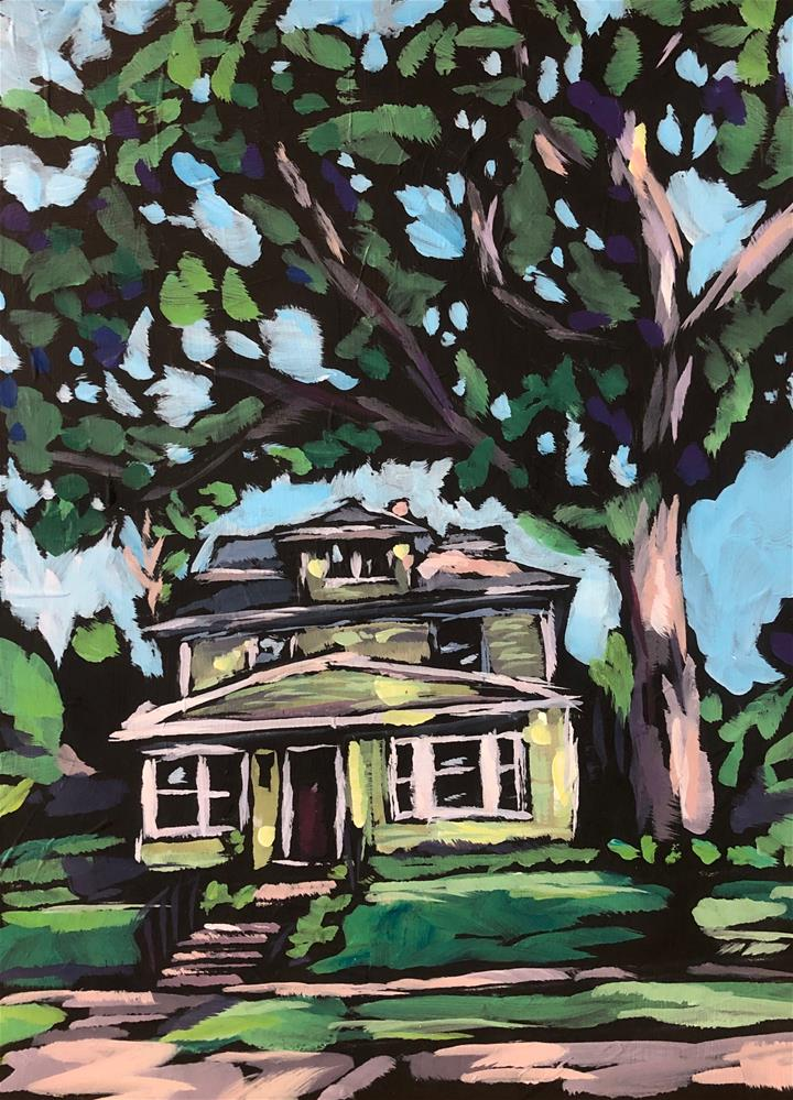 """The Green House and the Big Tree"" original fine art by Kat Corrigan"