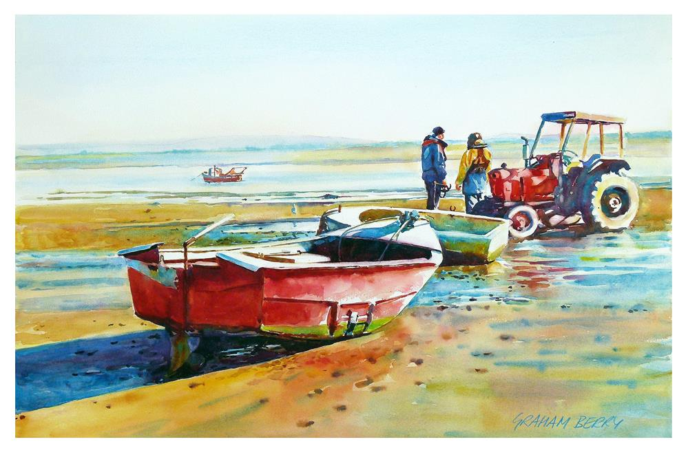 """""""Men, boats and tractor."""" original fine art by Graham Berry"""