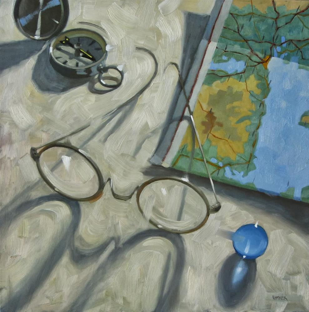 """""""Dreaming of travel   18 x 18  oil on wood"""" original fine art by Claudia Hammer"""