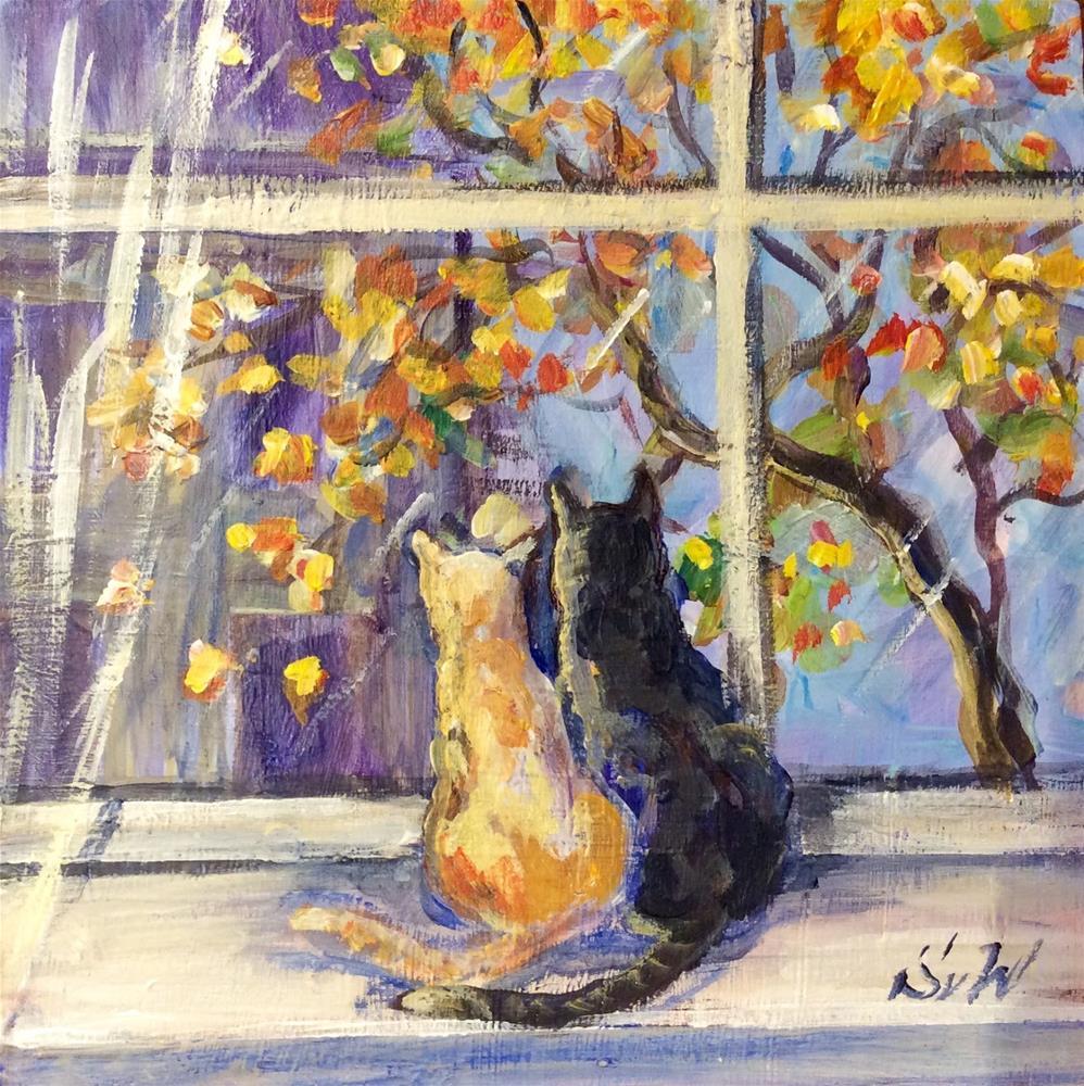 """Meow - What a beautiful day!"" original fine art by Sonia von Walter"