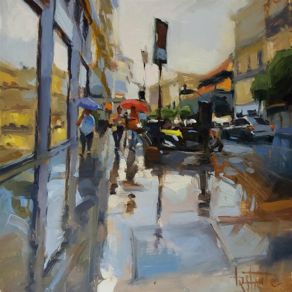 """Walking under the rain"" original fine art by Víctor Tristante"