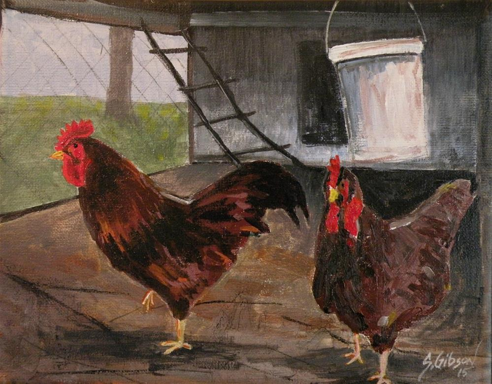 """""""Roosters in a hen house"""" original fine art by Steve Gibson"""