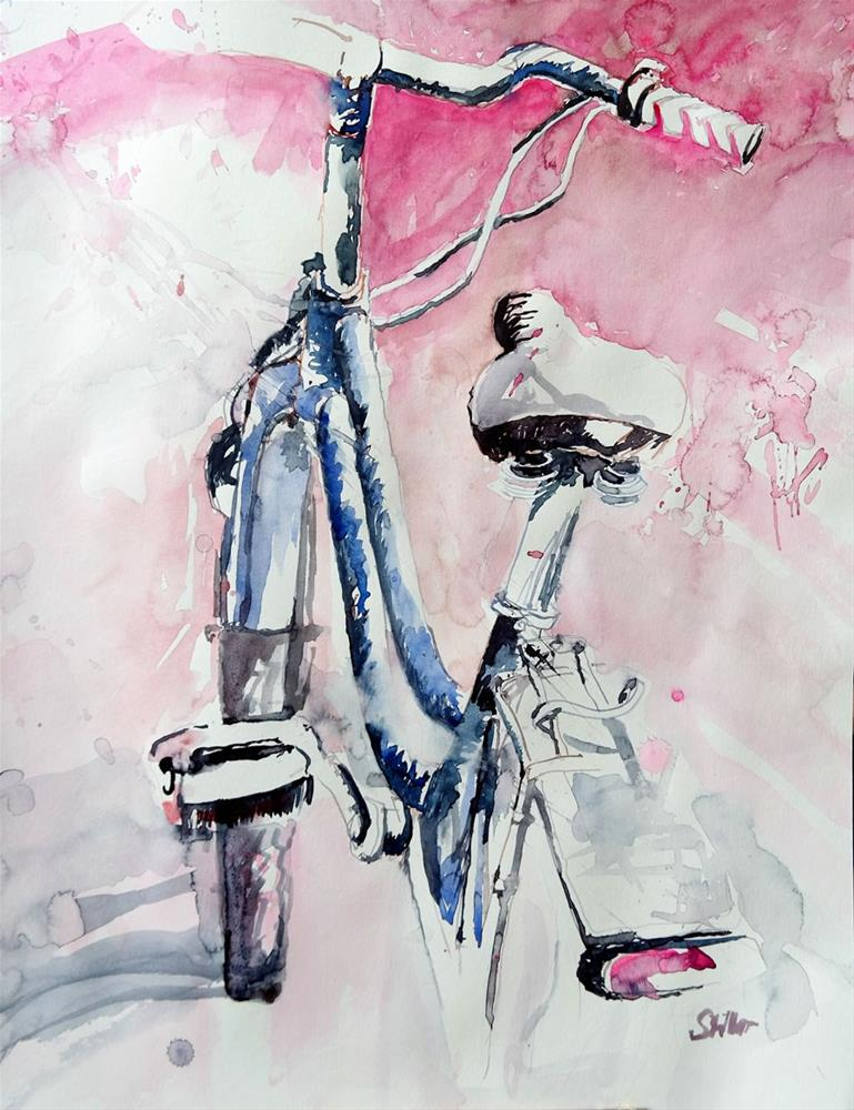 """2155 Blue Ladybike on Pink"" original fine art by Dietmar Stiller"