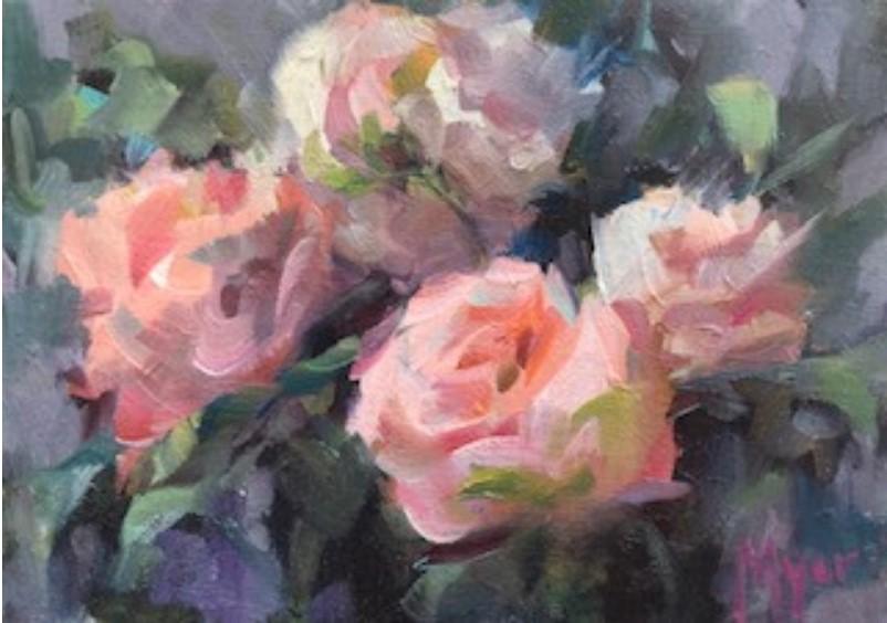 """Three Roses"" original fine art by Carol Myer"