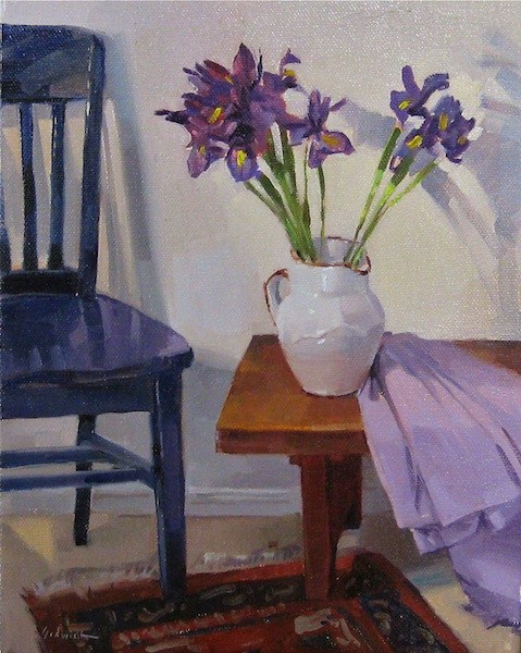 """""""Irises on a Low Table still life floral interior scene fine art oil painting daily"""" original fine art by Sarah Sedwick"""