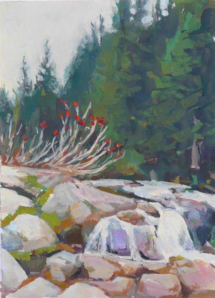 """Mountain Brook,landscape,gouache on paper,7x5,price$95"" original fine art by Joy Olney"