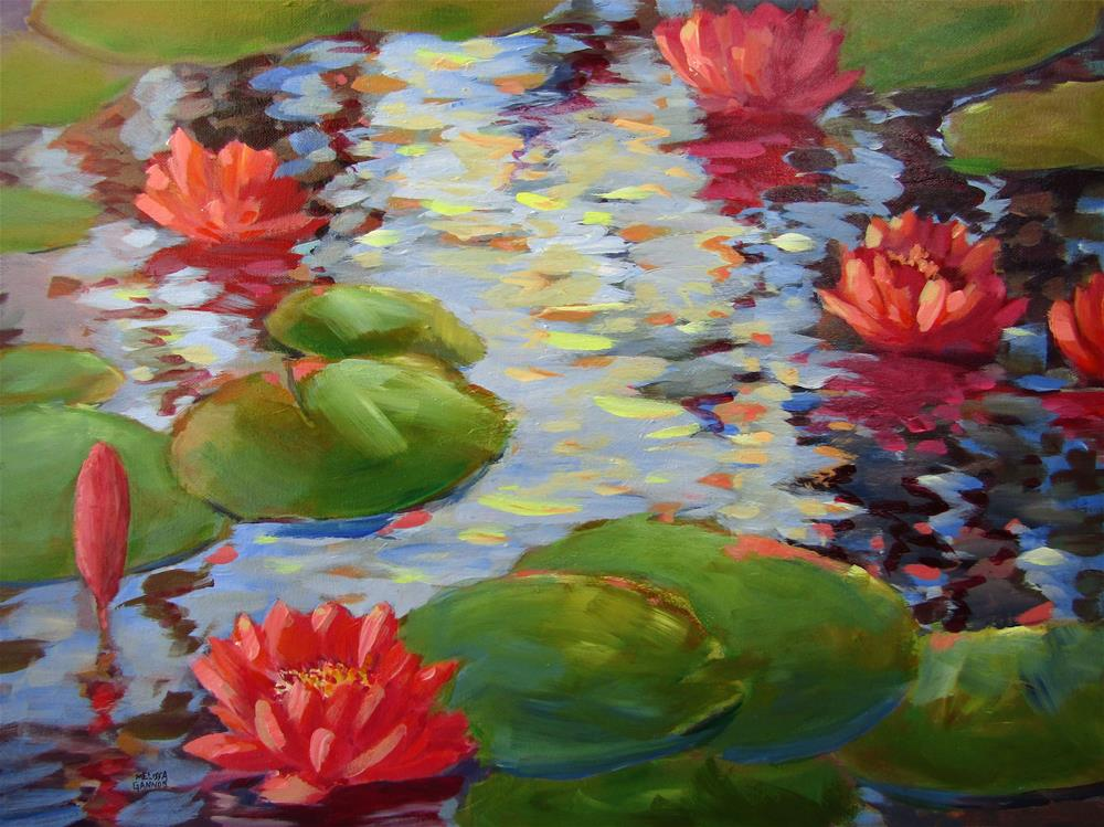 """Shimmering Waterlily Flowers"" original fine art by Melissa Gannon"