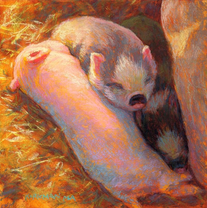 """Piglets in Dreamland"" original fine art by Rita Kirkman"