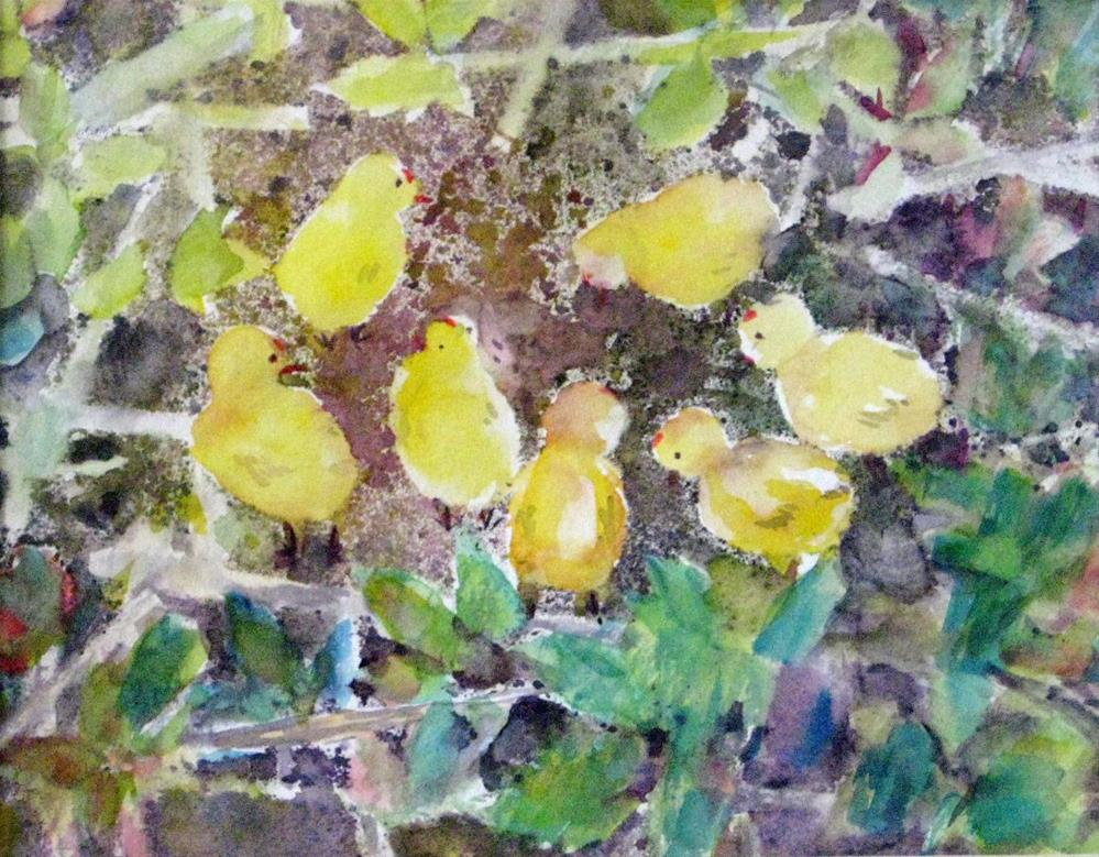 """""""Looking for food"""" original fine art by Wenqing Xu"""