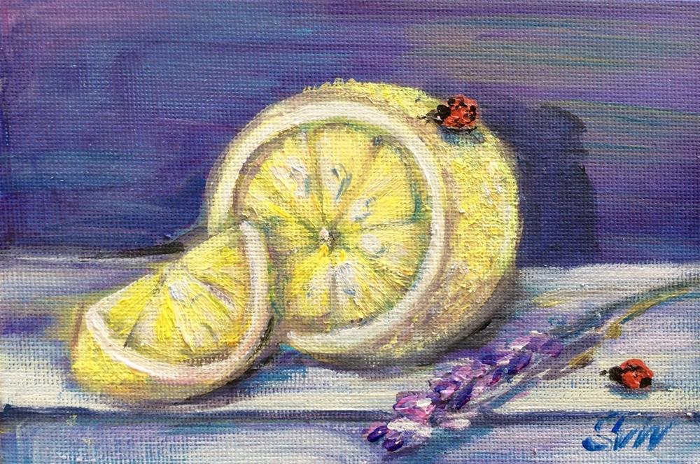 """""""Lemon and lavender"""" original fine art by Sonia von Walter"""