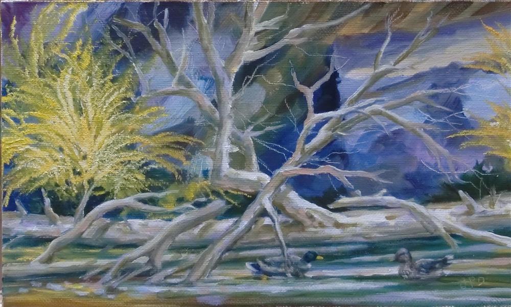 """""""Mallards on 11 Mile Canyon Stream"""" original fine art by Jean Pierre DeBernay"""
