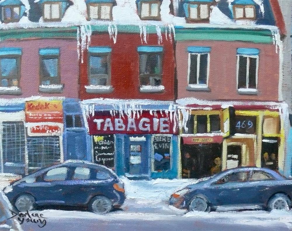 """""""1084 Tabagie Biere et Vin, Montreal winter scene, 8x10, oil on baord"""" original fine art by Darlene Young"""