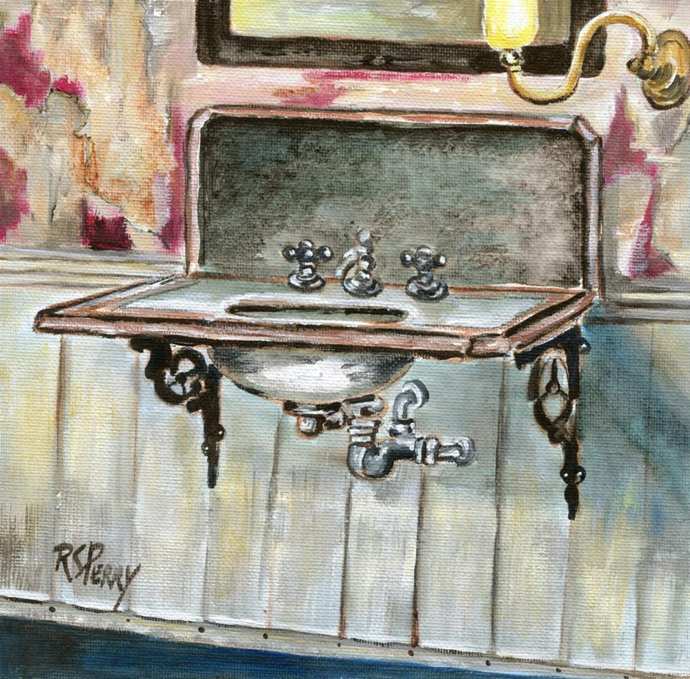 """Sink mounted on wall"" original fine art by R. S. Perry"