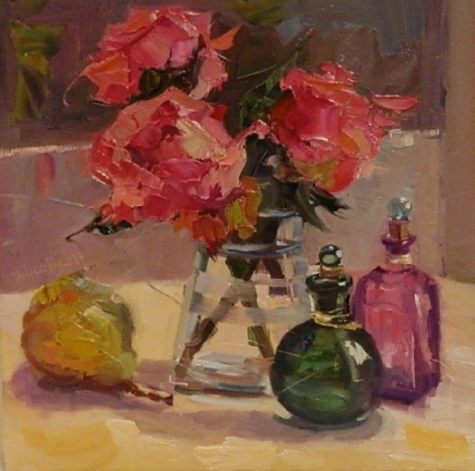 """Dancing Queens and a Pear, 12x12, oil on board, roses, pink roses, dancing queen roses, pear, glas"" original fine art by Maryanne Jacobsen"