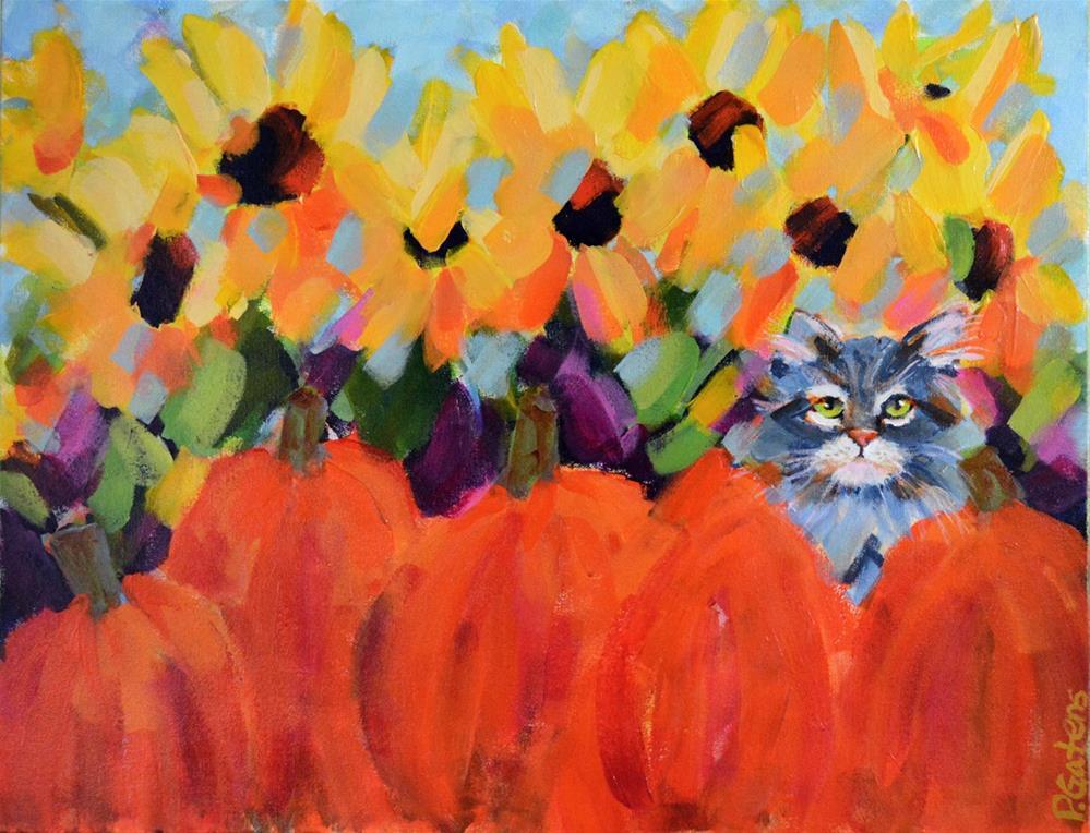 """""""Pumpkin Puss"""" original fine art by Pamela Gatens"""