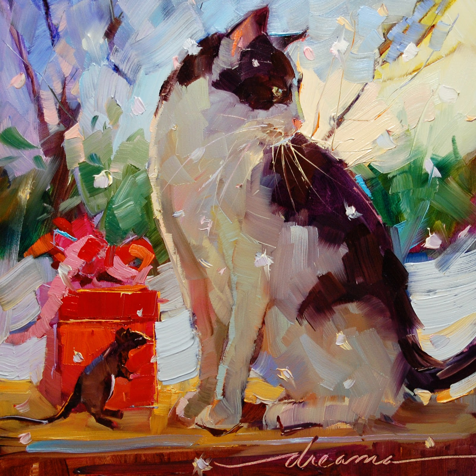 """""""Dreaming of.... a White Catmas?  SOLD"""" original fine art by Dreama Tolle Perry"""