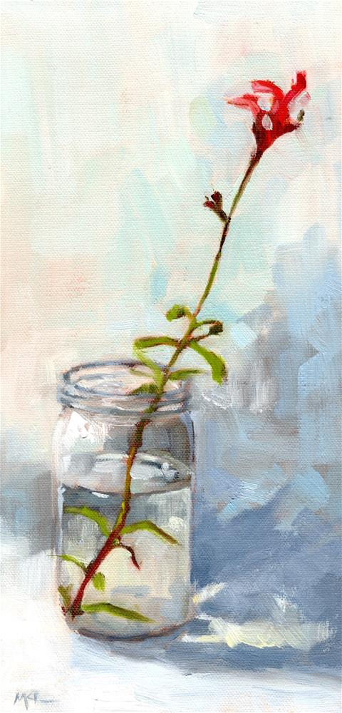 """Red Autumn Sage in a Jar"" original fine art by Marlene Lee"