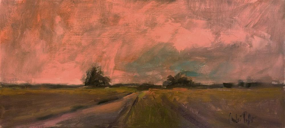 """""""Landscape with Pink Sky"""" original fine art by Andre Pallat"""