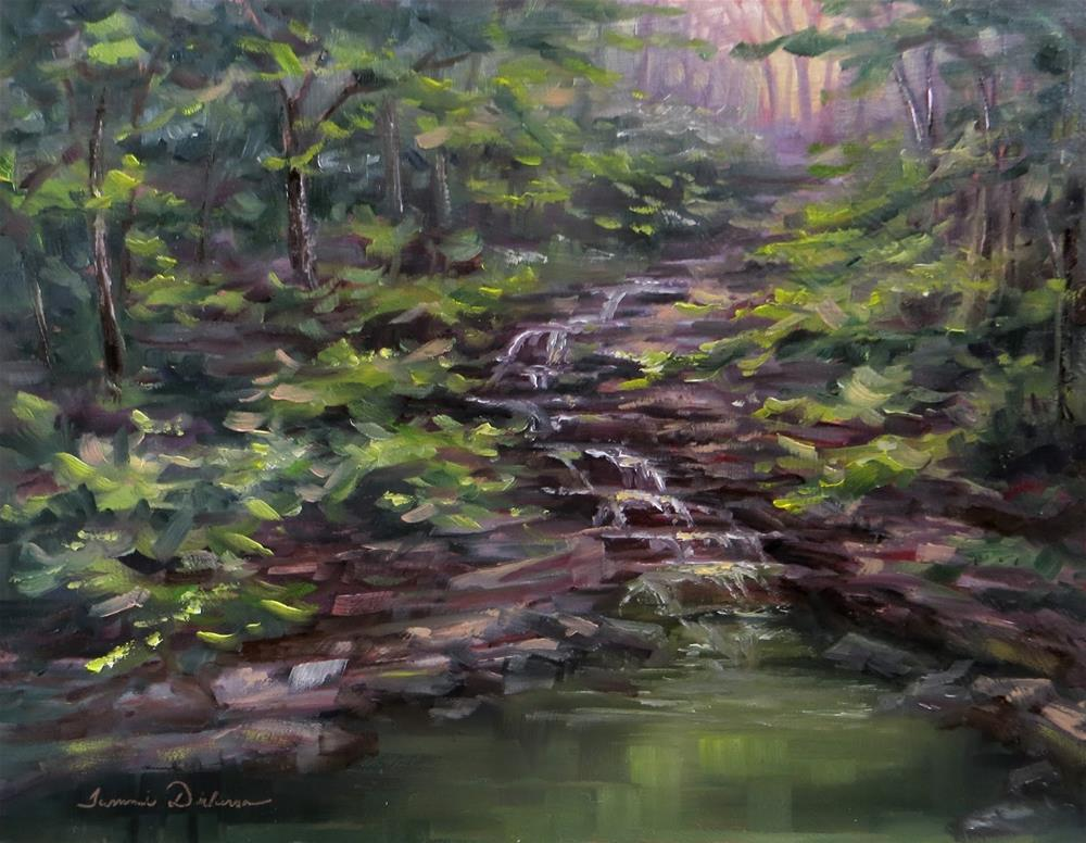 """Waterfall from Margaret's Pond"" original fine art by Tammie Dickerson"