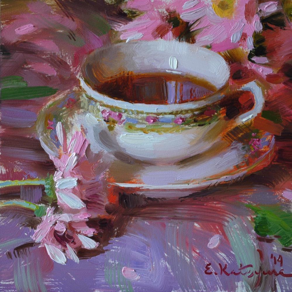 """Tea and Flowers"" original fine art by Elena Katsyura"