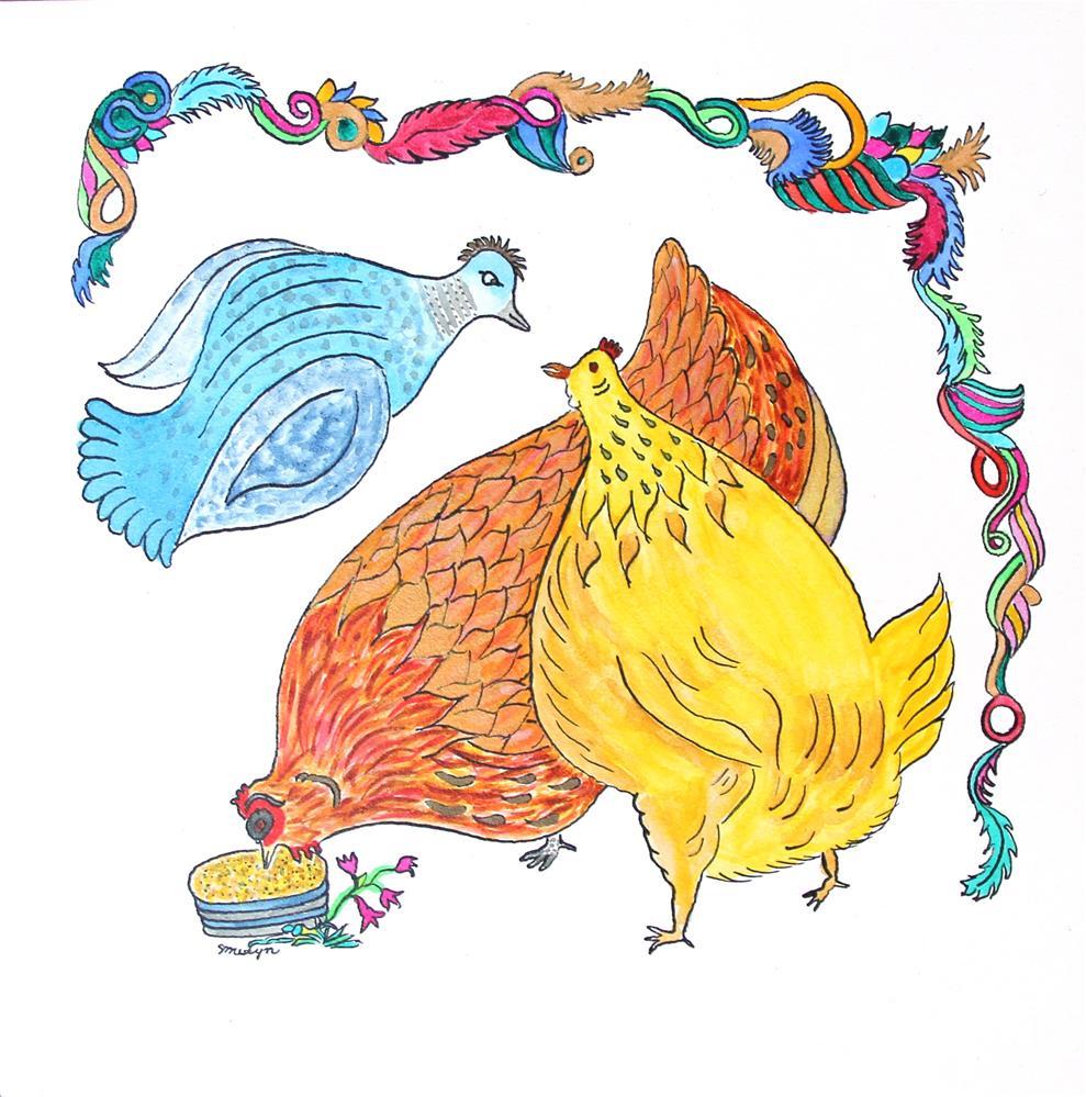 """A Couple Of Cute Chicks"" original fine art by Susan Medyn"