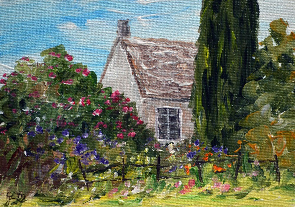 """Peeking Cottage Window"" original fine art by Gloria Ester"