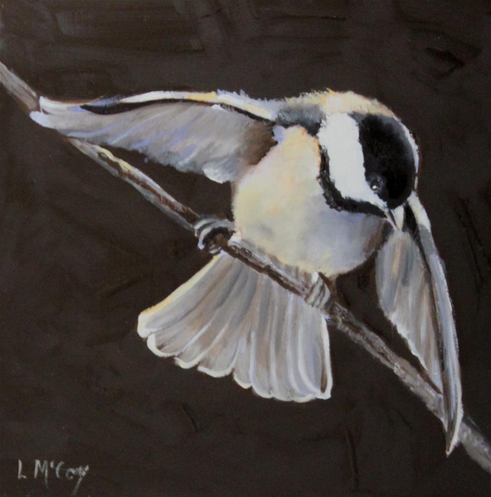 """Obeisance, Chickadee Oil Painting"" original fine art by Linda McCoy"