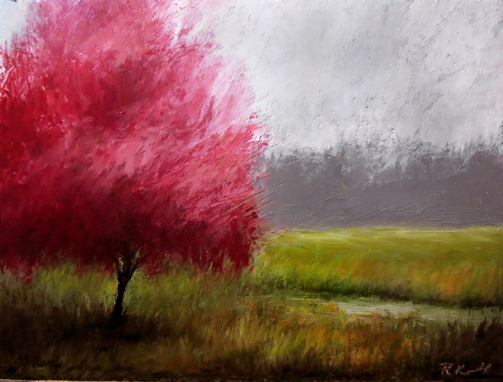 """Red-bud Tree by a Stream"" original fine art by Bob Kimball"