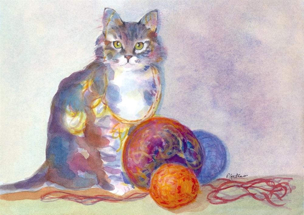 """""""Purling Puss"""" original fine art by Pamela Gatens"""