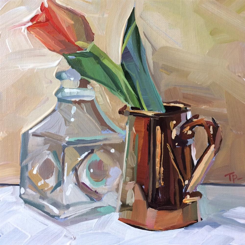 """""""Tulips and Copper"""" original fine art by Teddi Parker"""