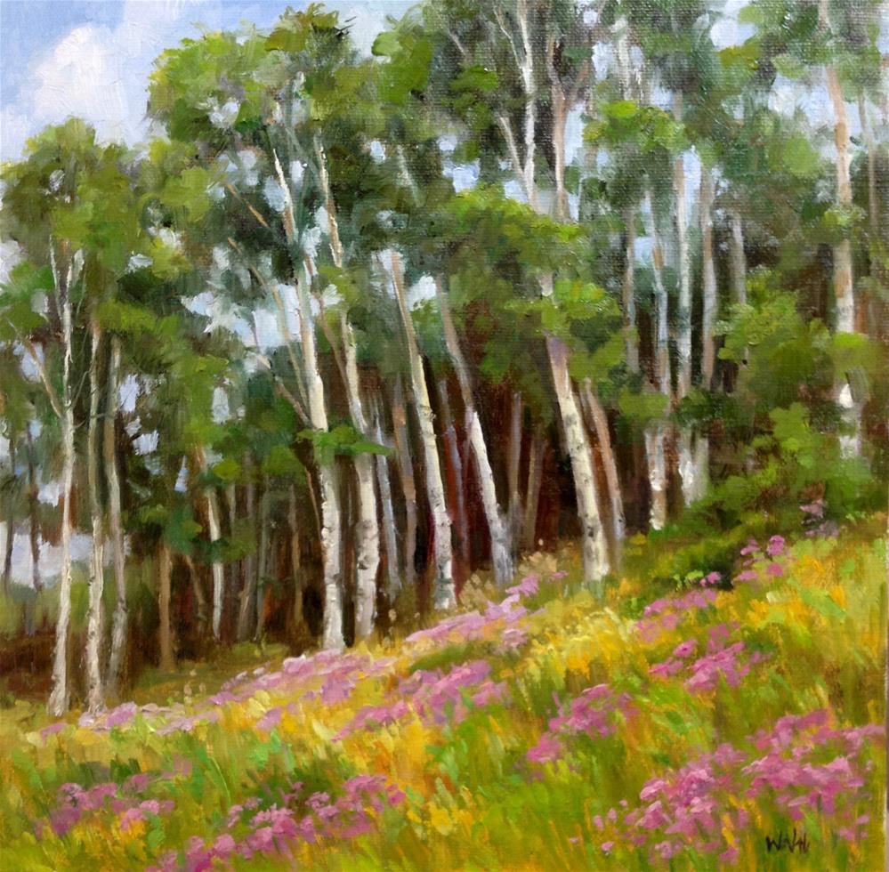 """""""Aspens and Asters"""" original fine art by Nancy Wahl"""