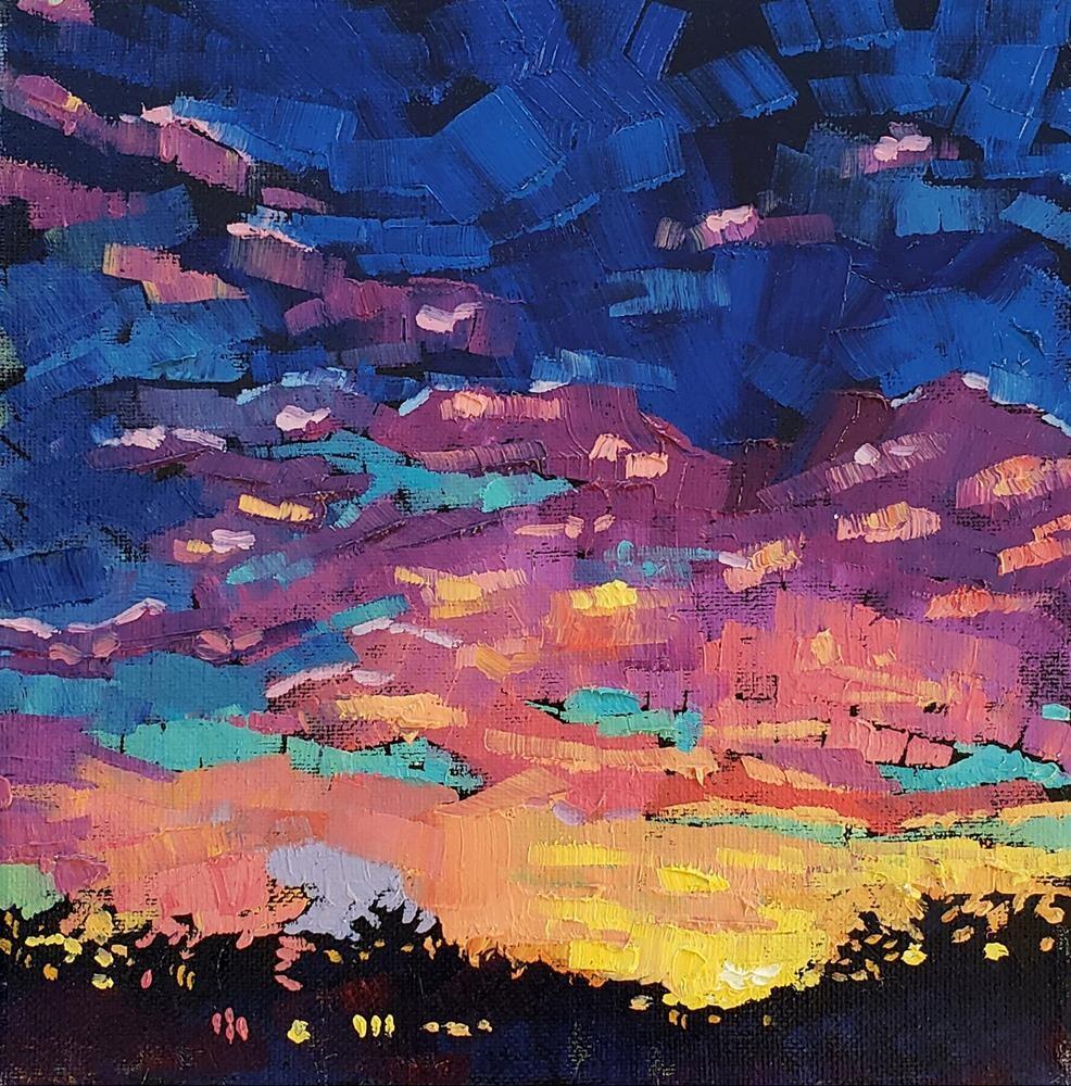 """Yosemite Sunset- Small Oil Painting"" original fine art by Bhavna Misra"