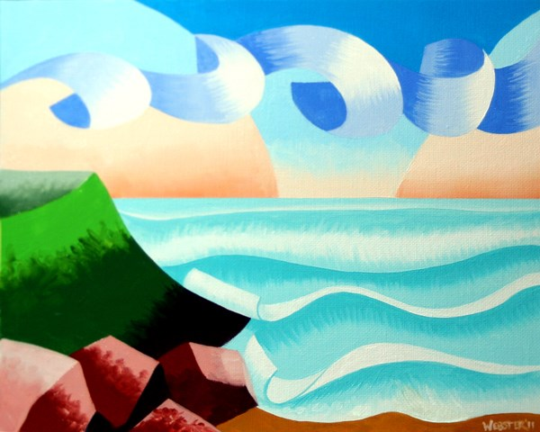 """Mark Webster - Abstract Ocean Coast Landscape Oil Painting"" original fine art by Mark Webster"