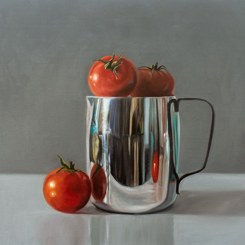 """Tomatoes and Reflective Cream Pitcher"" original fine art by Lauren Pretorius"