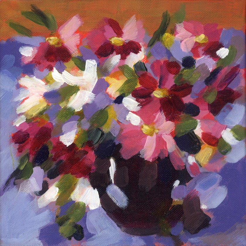 """Wildflowers & Cosmos for Sybil"" original fine art by Pamela Gatens"
