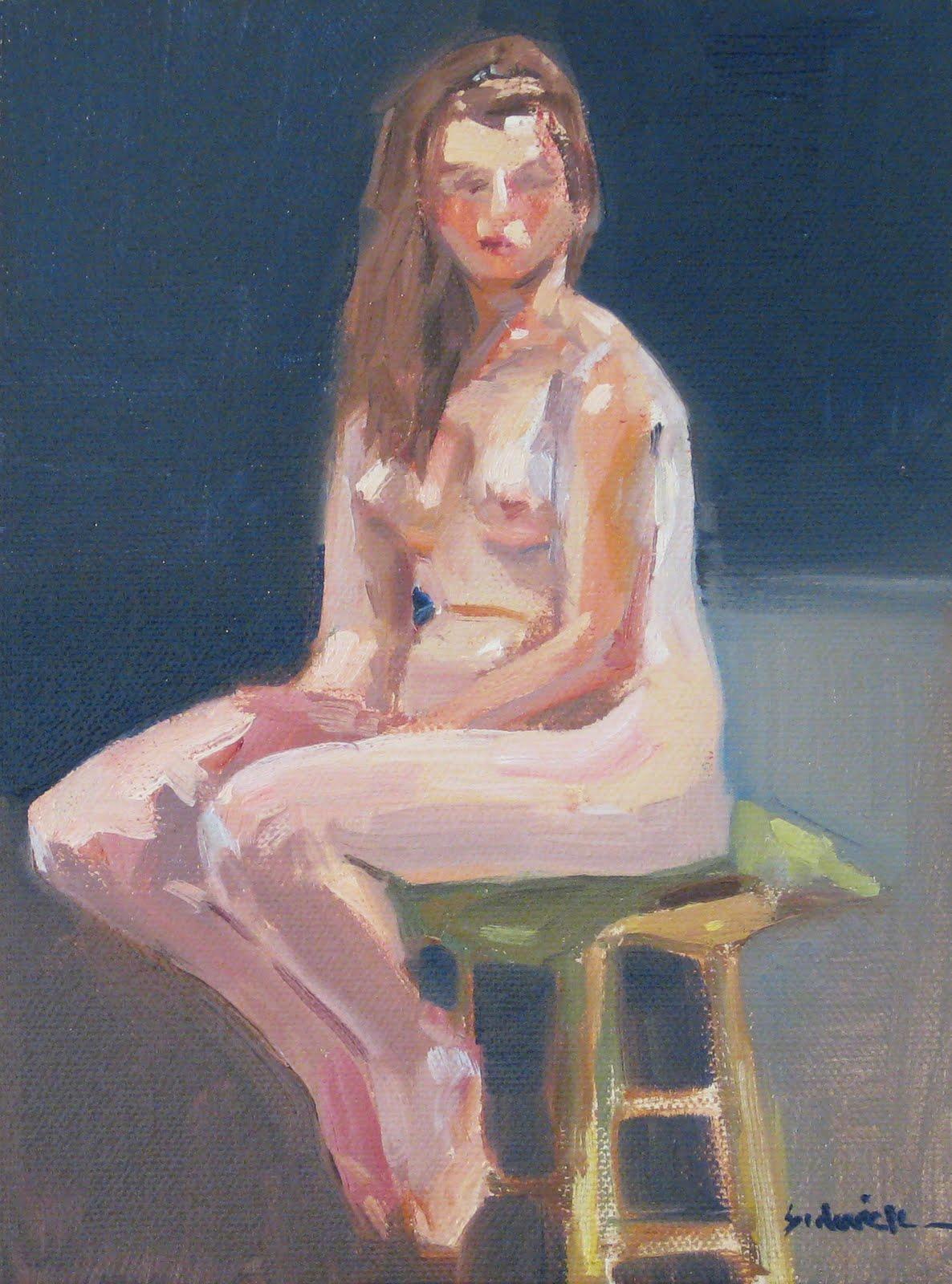 """""""Little Nude on Blue"""" original fine art by Sarah Sedwick"""