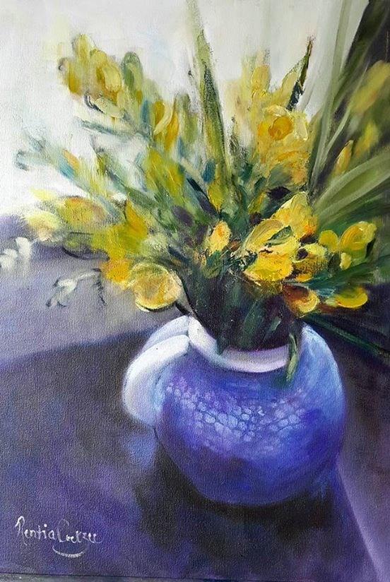 """""""Blue vase revisited"""" original fine art by Rentia Coetzee"""