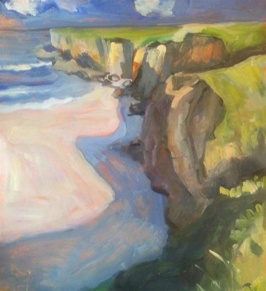 """""""Cliff by the Shore"""" original fine art by Liz Maynes"""
