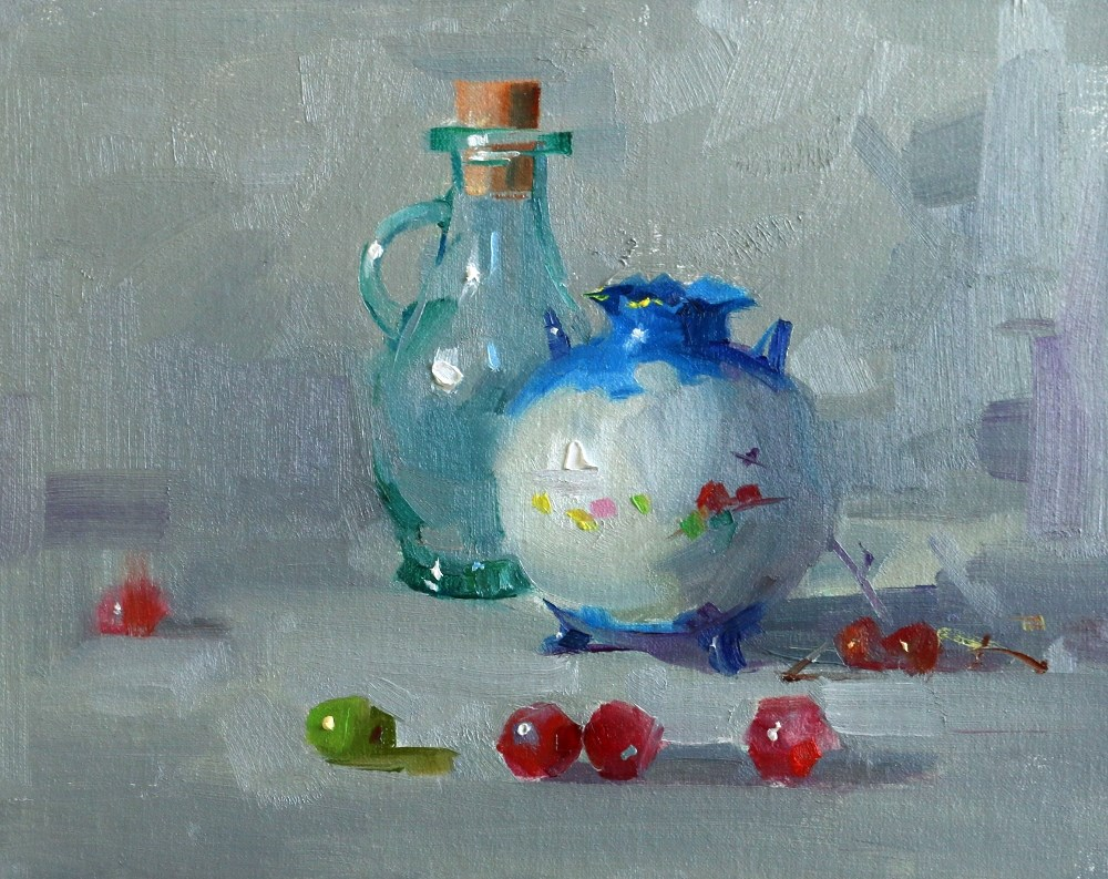 """""""The Blue Vase"""" original fine art by Qiang Huang"""