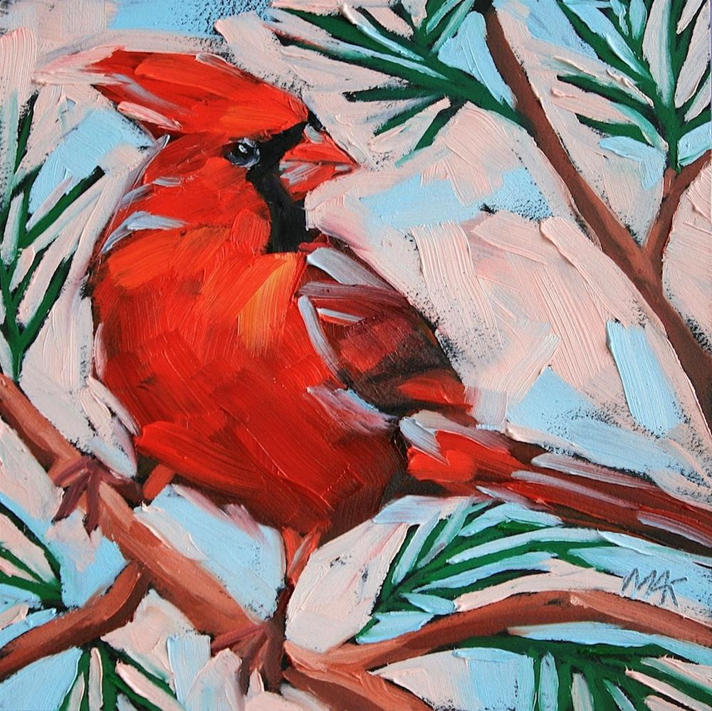 """""""New Year Cardinal"""" original fine art by Mary Anne Cary"""