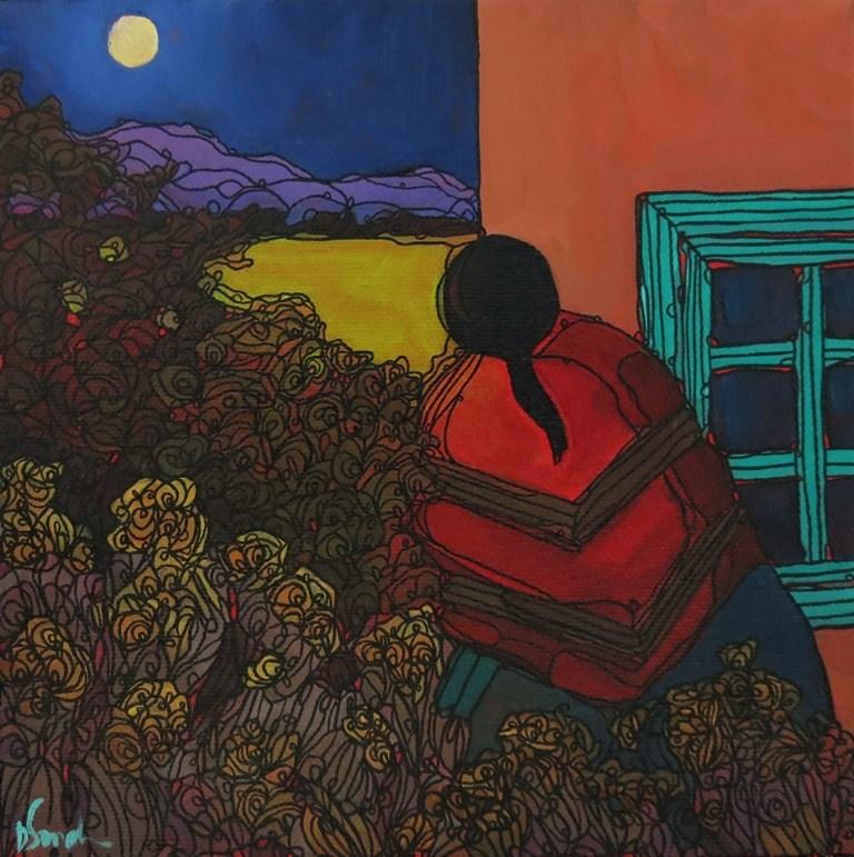 """""""MOONWATCHER"""" original fine art by Dee Sanchez"""