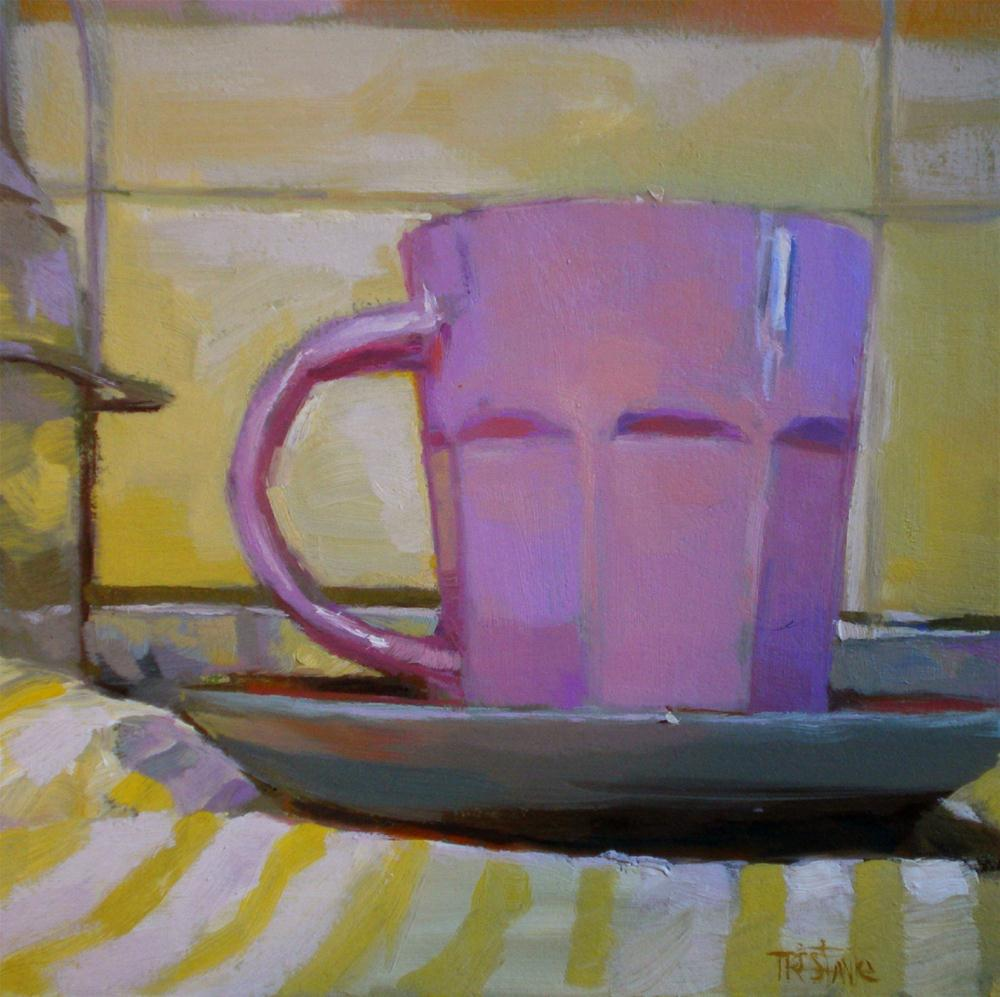 """""""One more cup of coffee"""" original fine art by Víctor Tristante"""