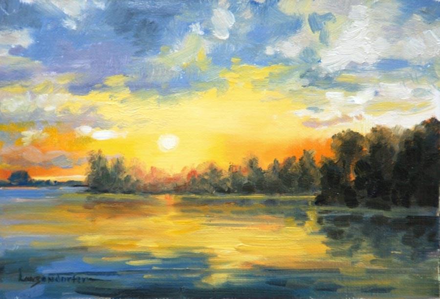 """""""BLUE SUNSET"""" original fine art by Dj Lanzendorfer"""