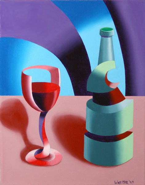 """""""Mark Webster - Abstract Futurist Wine with Bottle Still Life Oil Painting"""" original fine art by Mark Webster"""