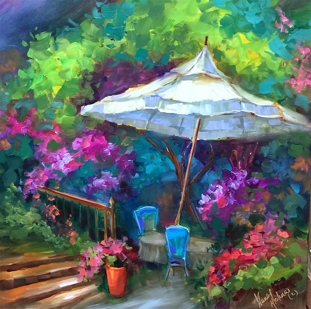"""""""Join me for a Southern France for a Destination Workshop! French Aperitifs"""" original fine art by Nancy Medina"""
