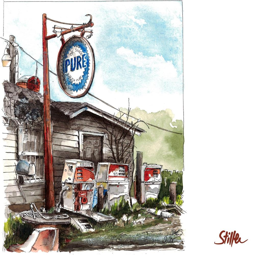 """3468 Gas Station (Nine)"" original fine art by Dietmar Stiller"