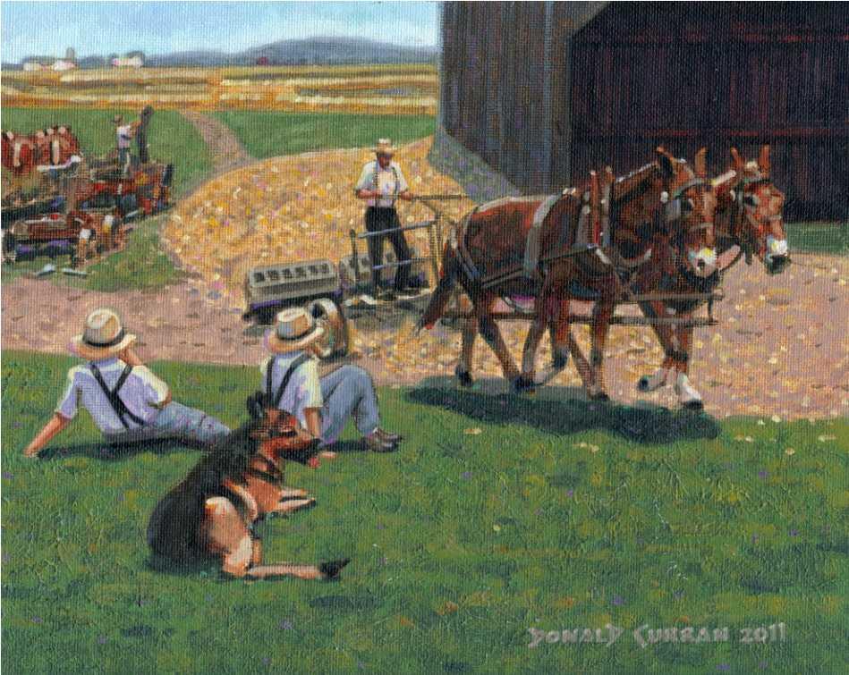 """Amish Farm Scene"" original fine art by Donald Curran"