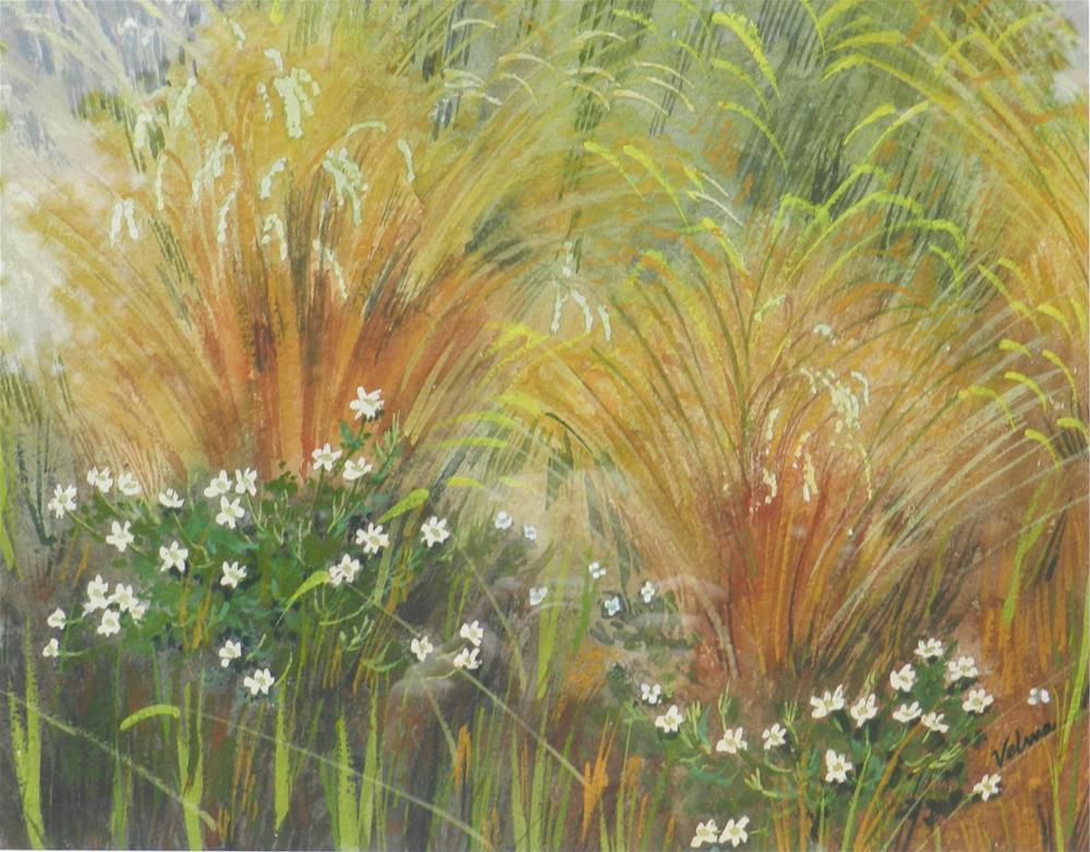 """White Wildflowers"" original fine art by Velma Davies"