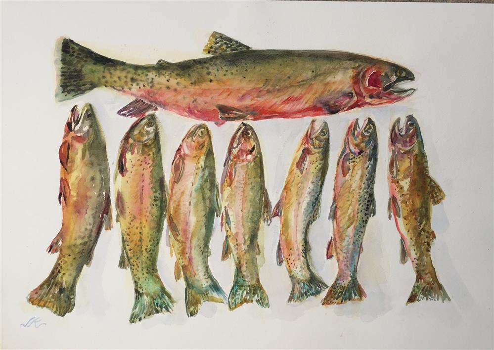 """""""Eight Cutthroat"""" original fine art by Jean Krueger"""