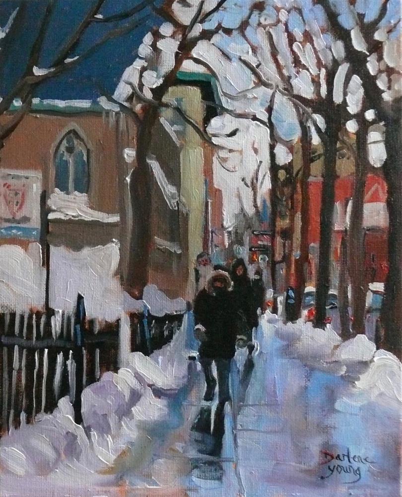 """891 Montreal Winter Scene, Ste-Catherine, oil on board, 8x10"" original fine art by Darlene Young"
